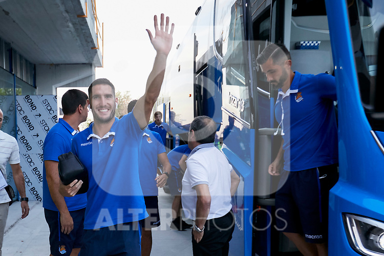 Real Sociedad's players arriving to the stadium before La Liga match. August 24, 2018. (ALTERPHOTOS/A. Perez Meca)