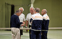 March 5, 2015, Netherlands, Hilversum, Tulip Tennis Center, NOVK, doubles, umpire Eric Savalle does the toss<br /> Photo: Tennisimages/Henk Koster