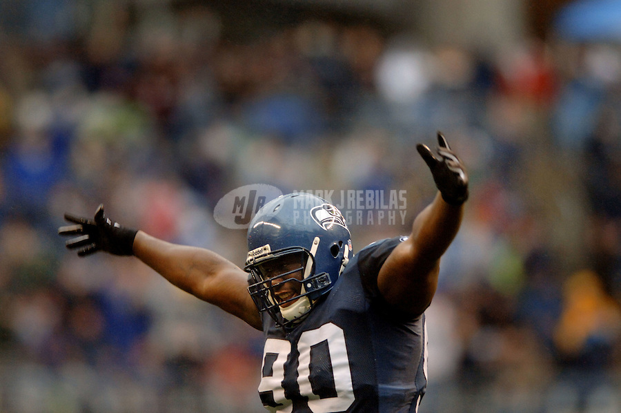 Oct 23, 2005; Seattle, Wash, USA;  Seattle Seahawks defensive tackle #90 Marcus Tubbs celebrates a Dallas Cowboys missed field goal in the fourth quarter at Qwest Field. Mandatory Credit: Photo By Mark J. Rebilas