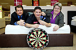 Pix: Shaun Flannery/shaunflanneryphotography.com...COPYRIGHT PICTURE>>SHAUN FLANNERY>01302-570814>>07778315553>>..4th February 2011..............Bensons for Beds, Centurion Way, Doncaster..Darts player Gary Anderson visits the store..Also pictured are staff members Jan Stocks, Phill Abbott.