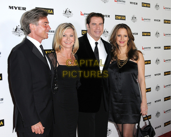 JOHN EASTERLING, OLIVIA NEWTON-JOHN, JOHN TRAVOLTA & KELLY PRESTON .at G'Day USA LA Black Tie Gala held at The Hollywood Palladium in Hollywood, California, USA, January 22nd, 2011..half length suit black tie white shirt smiling silk satin couple wife husband dress silk satin .CAP/RKE/DVS.©DVS/RockinExposures/Capital Pictures.