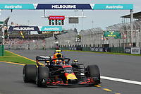 March 24, 2018: Max Verstappen (NLD) #33 from the Aston Martin Red Bull Racing team leaves the pit for his qualifying lap at the 2018 Australian Formula One Grand Prix at Albert Park, Melbourne, Australia. Photo Sydney Low