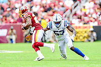 Landover, MD - September 16, 2018: Washington Redskins running back Chris Thompson (25) is tackled by Indianapolis Colts linebacker Darius Leonard (53) during game between the Indianapolis Colts and the Washington Redskins at FedEx Field in Landover, MD. The Colts defeated the Redskins 21-9.(Photo by Phillip Peters/Media Images International)