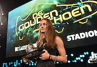 20170208 – LINT ,  BELGIUM : Tessa Wullaert the first winner of the female Golden Shoe pictured during the  63nd men edition of the Golden Shoe award ceremony and 1st Women's edition, Wednesday 8 February 2017, in Lint AED studio. The Golden Shoe (Gouden Schoen / Soulier d'Or) is an award for the best soccer player of the Belgian Jupiler Pro League championship during the year 2016. The female edition is a first in Belgium.  PHOTO DIRK VUYLSTEKE | Sportpix.be