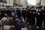 The Troubles 1980s Belfast sit down protest in city centre. 1981