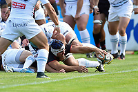 Schalk Brits of Saracens scores a try in the first half. Pre-season friendly match, between Bedford Blues and Saracens on August 19, 2017 at Goldington Road in Bedford, England. Photo by: Patrick Khachfe / Onside Images