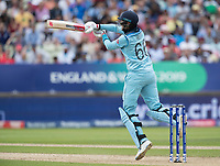 Joe Root (England) pulls a short delivery square for four runs during Australia vs England, ICC World Cup Semi-Final Cricket at Edgbaston Stadium on 11th July 2019