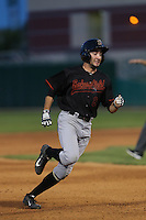 Andrew Barbosa (6) of the Bakersfield Blaze runs the bases during a game against the Lancaster JetHawks at The Hanger on August 5, 2015 in Lancaster, California. Bakersfield defeated Lancaster, 12-5. (Larry Goren/Four Seam Images)