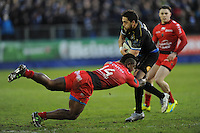 Horacio Agulla of Bath Rugby forces his way through Josua Tuisova of RC Toulon during the European Rugby Champions Cup match between Bath Rugby and RC Toulon - 23/01/2016 - The Recreation Ground, Bath Mandatory Credit: Rob Munro/Stewart Communications
