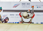 9 January 2016: Alexander Auer, competing for Austria, pushes off for his first and only run start of the BMW IBSF World Cup Skeleton race at the Olympic Sports Track in Lake Placid, New York, USA. Auer did not make a second run. Mandatory Credit: Ed Wolfstein Photo *** RAW (NEF) Image File Available ***