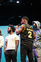 Alexander Levers '19 and one of two presenters of the night, Rahsaan Middleton '19.<br /> Occidental College students perform and compete during Apollo Night, one of Oxy's biggest talent showcases, on Feb. 22, 2019 in Thorne Hall. Sponsored by ASOC and hosted by the Black Student Alliance as part of Black History Month.<br /> <br /> Photo by Emy Deeter '22, La Encina