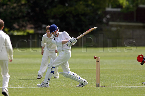 11 May 2005: A boy batting during a cricket match for under 13 year old boys at an Independent school in Surrey Photo: Glyn Kirk/Actionplus...050511 schools children kids child lesson teenager batsman