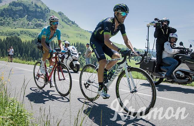 Alejandro Valverde (ESP/Movistar) &amp; Fabio Arru (ITA/Astana) up the Col de la Colombi&egrave;re<br /> <br /> 69th Crit&eacute;rium du Dauphin&eacute; 2017<br /> Stage 8: Albertville &gt; Plateau de Solaison (115km)