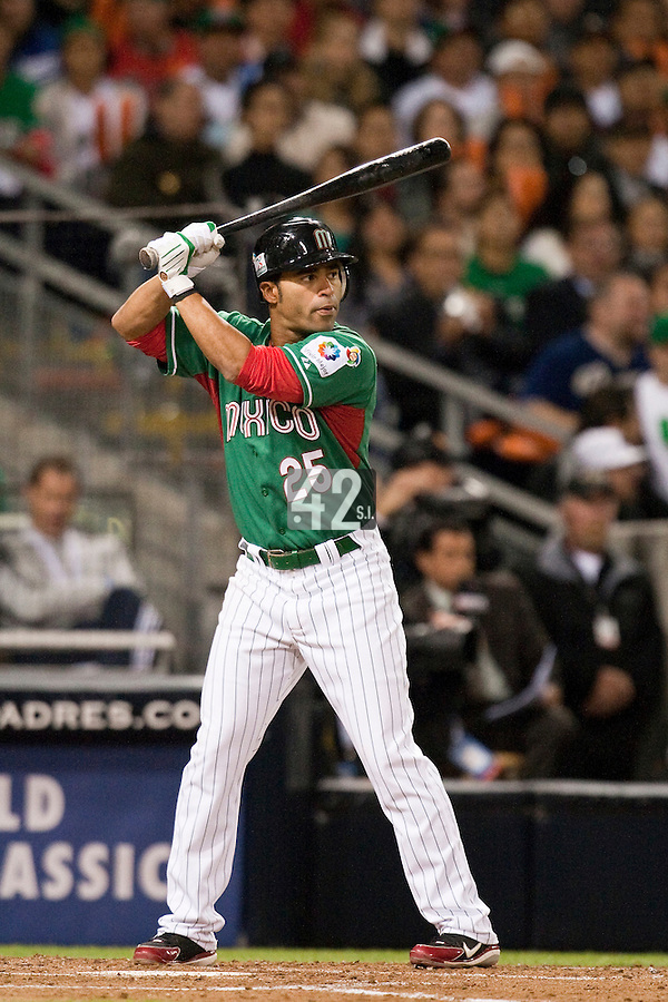 15 March 2009: #25 Jerry Hairston of Mexico is seen at bat during the 2009 World Baseball Classic Pool 1 game 2 at Petco Park in San Diego, California, USA. Korea wins 8-2 over Mexico.