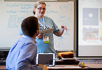 NWA Democrat-Gazette/JASON IVESTER <br /> Michelle Younkin leads a session on technology in the classroom on Friday, Aug. 14, 2015, during the Leading Together: Conference and Convocation for Fayetteville Public Schools teachers at Fayetteville High School.