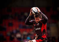 Ernst Joubert rises high to collect lineout ball. Guinness Premiership match between Saracens and Bath on February 28, 2010 at Vicarage Road in Watford, England. [Mandatory Credit: Patrick Khachfe/Onside Images]