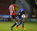 Kimarni Smith of Sheffield Utd tangles with James Murphy of Sheffield Wednesday during the U23 Professional Development League match at Bramall Lane Stadium, Sheffield. Picture date: September 6th, 2016. Pic Simon Bellis/Sportimage