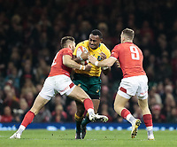 Australia's Samu Kerevi is tackled by Wales' Owen Williams<br /> <br /> Photographer Simon King/CameraSport<br /> <br /> International Rugby Union - 2017 Under Armour Series Autumn Internationals - Wales v Australia - Saturday 11th November 2017 - Principality Stadium - Cardiff<br /> <br /> World Copyright &copy; 2017 CameraSport. All rights reserved. 43 Linden Ave. Countesthorpe. Leicester. England. LE8 5PG - Tel: +44 (0) 116 277 4147 - admin@camerasport.com - www.camerasport.com