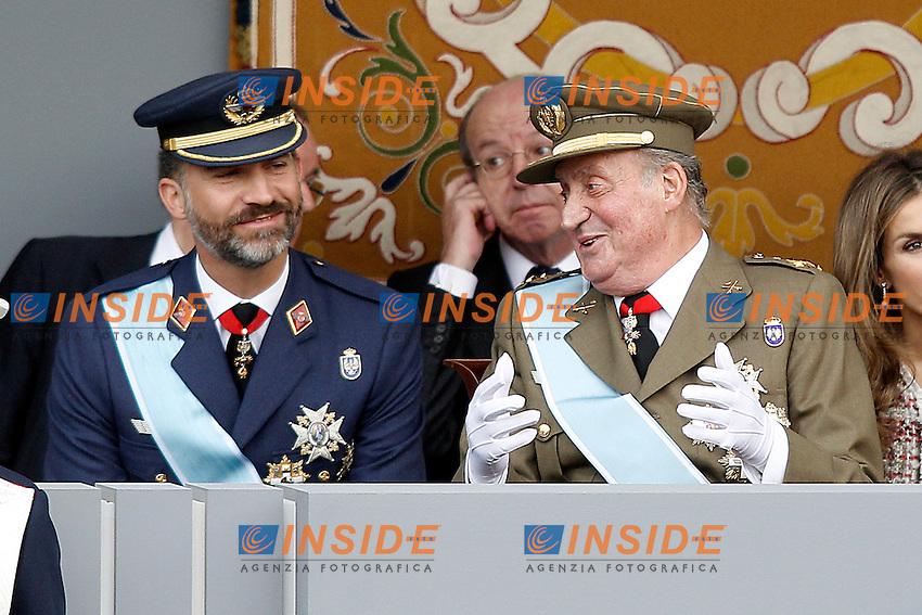 Principe Felipe di Spagna e Juan Carlos I Re di Spagna durante la Parata Militare.October 12,2012.(ALTERPHOTOS/Insidefoto/Acero) .ITALY ONLY