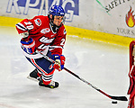 21 February 2009: University of Massachusetts Lowell River Hawks' forward Michael Scheu, a Freshman from Buffalo, NY, in action against the University of Vermont Catamounts at Gutterson Fieldhouse in Burlington, Vermont. The River Hawks shut out the Catamounts 1-0. Mandatory Photo Credit: Ed Wolfstein Photo