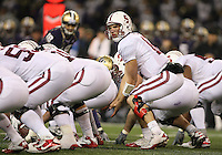 Oct 30, 20010:  Stanford quarterback #12 Andrew Luck gets set at the line of scrimmage against Washington.  Stanford defeated Washington 41-0 at Husky Stadium in Seattle, Washington...