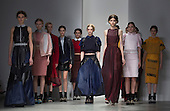 14 February 2014, London, England, UK. Models walk the runway at the Bora Aksu catwalk show during London Fashion Week AW14 at Somerset House, London. Photo credit: Bettina Strenske/LNP