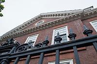 Wigglesworth Hall, one of Harvard's freshman dorms, abuts Massachusetts Avenue at the edge of Harvard Yard at Harvard University in Cambridge, Massachusetts, USA, on Mon., Oct 15, 2018.