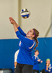 18 October 2015: Yeshiva University Maccabee Middle Blocker Marissa Almoslino, a Junior from Seattle, WA, bumps during game action against the College of Mount Saint Vincent Dolphins at the Peter Sharp Center, in Riverdale, NY. The Dolphins defeated the Maccabees 3-0 in the NCAA Division III Women's Volleyball Skyline matchup. Mandatory Credit: Ed Wolfstein Photo *** RAW (NEF) Image File Available ***