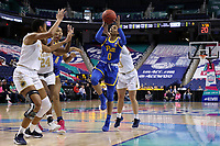 GREENSBORO, NC - MARCH 04: Jahsyni Knight #0 of the University of Pittsburgh shoots the ball during a game between Pitt and Notre Dame at Greensboro Coliseum on March 04, 2020 in Greensboro, North Carolina.