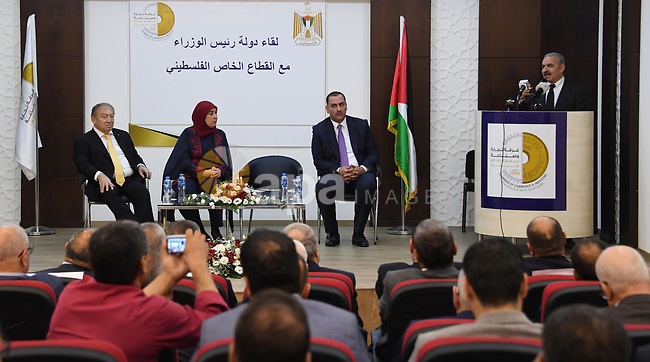 Palestinian Prime Minister Mohammad Ishtayeh, takes part an open meeting with representatives of the private sector, in the West Bank city of Ramallah, on September 19, 2019. Photo by Prime Minister Office