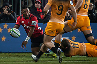 Crusaders' Sevu Reece passes during the 2019 Super Rugby final between the Crusaders and Jaguares at Orangetheory Stadium in Christchurch, New Zealand on Saturday, 6 July 2019. Photo: Joe Johnson / lintottphoto.co.nz