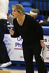 Marymount Head Coach Beth Ann Wilson coaches from the sidelines of a college volleyball game, in Arlington, Vir., on Saturday, Nov. 1, 2014.<br /> Photo by Cathleen Allison