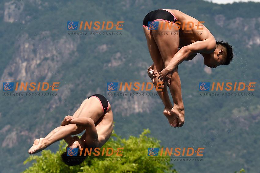 TERAUCHI Ken, OKAMOTO Yu JPN <br /> Synchronised 3m Springboard Men Final - Trampolino Sincro 3m Uomini <br /> Bolzano 03-08-2014 <br /> 20 Fina Diving Grand Prix <br /> Photo Andrea Staccioli/Insidefoto