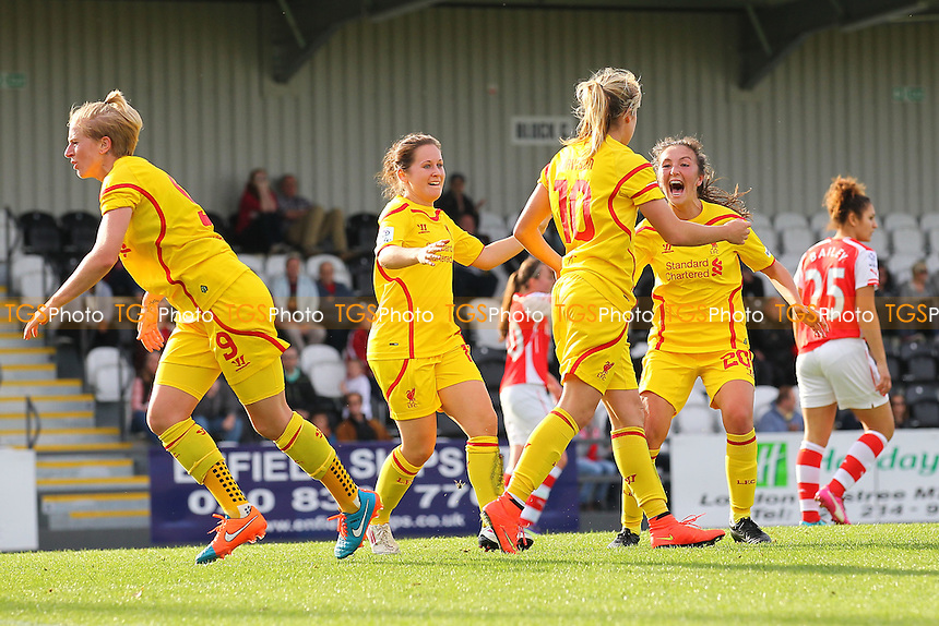 Liverpool Ladies celebrate a late equalising goal scored by Gemma Davison (10) - Arsenal Ladies vs Liverpool Ladies - FA Womens Super League Football at Meadow Park, Boreham Wood FC  - 05/10/14 - MANDATORY CREDIT: Gavin Ellis/TGSPHOTO - Self billing applies where appropriate - contact@tgsphoto.co.uk - NO UNPAID USE
