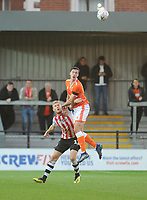 Blackpool's Ben Heneghan vies for possession with Exeter City's Jayden Stockley<br /> <br /> Photographer Kevin Barnes/CameraSport<br /> <br /> Emirates FA Cup First Round - Exeter City v Blackpool - Saturday 10th November 2018 - St James Park - Exeter<br />  <br /> World Copyright © 2018 CameraSport. All rights reserved. 43 Linden Ave. Countesthorpe. Leicester. England. LE8 5PG - Tel: +44 (0) 116 277 4147 - admin@camerasport.com - www.camerasport.com