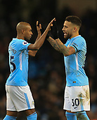 3rd December 2017, Etihad Stadium, Manchester, England; EPL Premier League football, Manchester City versus West Ham United; Nicolas Otamendi of Manchester City and Eliaquim Mangala of Manchester City celebrate their 2-1 victory