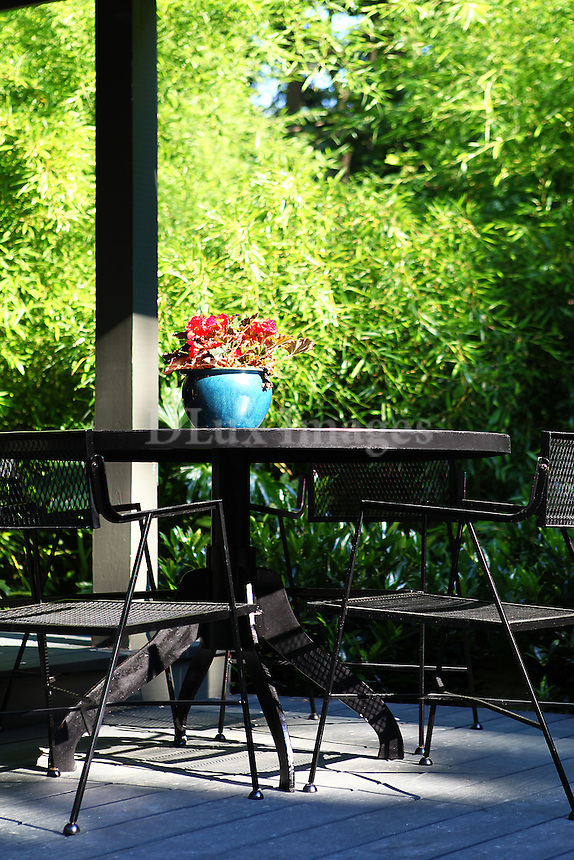 outdoor black table set