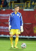 20150922 - LEUVEN ,  BELGIUM : Bosnia and Herzegovina's  Almina Hodzic  pictured during the female soccer game between the Belgian Red Flames and Bosnia and Herzegovina , the first game in the qualification for the European Championship in France 2017  , Thursday 22 September 2015 at Stadion Den Dreef  in Leuven , Belgium. PHOTO DAVID CATRY