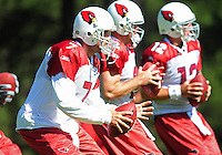 Jul 30, 2008; Flagstaff, AZ, USA; Arizona Cardinals quarterback (7) Matt Leinart drops back to pass alongside fellow quarterbacks during training camp on the campus of Northern Arizona University. Mandatory Credit: Mark J. Rebilas-