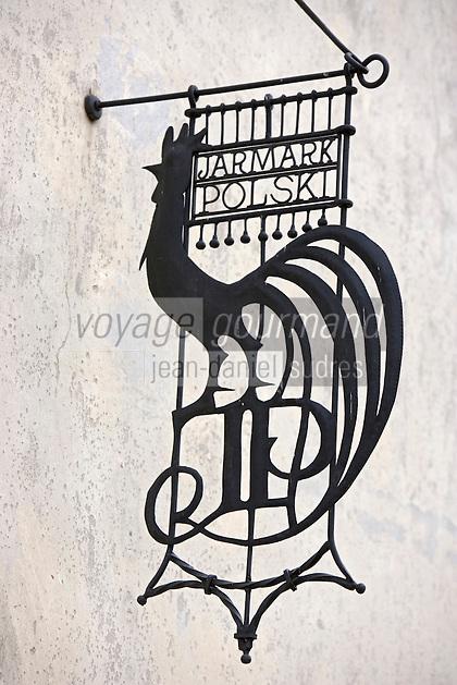 Europe/Pologne/Kazimierz Dolny: Détail Enseigne représentant un Coq de Kazimierz -Place du marché-Rynek