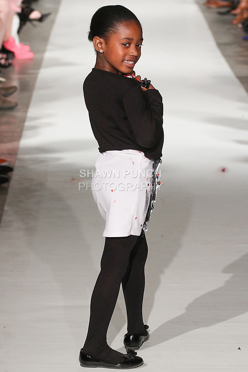 Model walks runway in an outfit from the Fit For Fashion Spring Summer 2015 collection by Yadestiny Treasure Chest, during Fashion Week Brooklyn Spring Summer 2015.