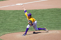 LSU Tigers starting pitcher Alex Lange (35) delivers a pitch to the plate during the NCAA College baseball World Series against the Cal State Fullerton on June 16, 2015 at TD Ameritrade Park in Omaha, Nebraska. LSU defeated Fullerton 5-3. (Andrew Woolley/Four Seam Images)