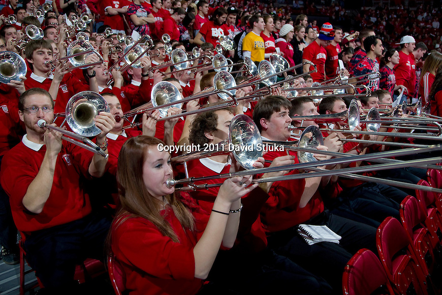 Wisconsin Badgers band plays during a Big Ten Conference NCAA men's college basketball game against the Purdue Boilermakers on February 1, 2011 at the Kohl Center in Madison, Wisconsin. Wisconsin won 66-59. (Photo by David Stluka)