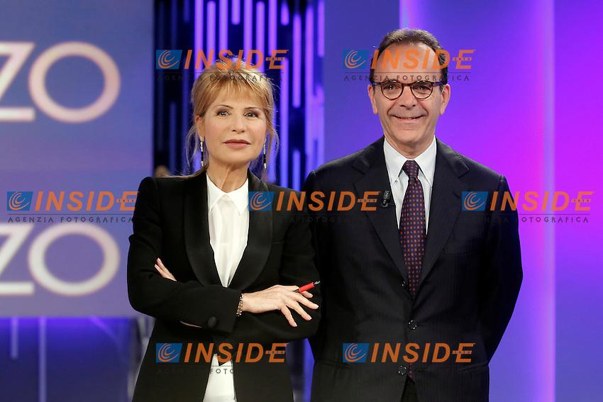 Lilli Gruber e Stefano Parisi<br /> Roma 12-05-2016. Trasmissione Tv 'Otto e Mezzo' su La7.<br /> Photo Samantha Zucchi Insidefoto