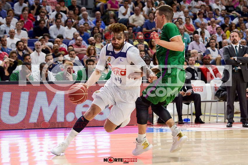 Real Madrid's Jeffery Taylor and Unicaja Malaga's Nemanja Nedovic during semi finals of playoff Liga Endesa match between Real Madrid and Unicaja Malaga at Wizink Center in Madrid, June 02, 2017. Spain.<br /> (ALTERPHOTOS/BorjaB.Hojas) /NortePhoto.com