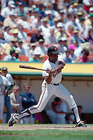OAKLAND, CA - Bobby Bonds of the San Francisco Giants bats during an old timers game at the Oakland Coliseum in Oakland, California in 1990. Photo by Brad Mangin