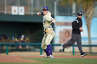 Western Carolina Catamounts third baseman Justice Bigbie (7) makes a throw to first base against the Saint Joseph's Hawks at TicketReturn.com Field at Pelicans Ballpark on February 23, 2020 in Myrtle Beach, South Carolina. The Hawks defeated the Catamounts 9-2. (Brian Westerholt/Four Seam Images)