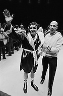 11 May 1970, Manhattan, New York City, New York State, USA. A victorious Donato Paduano stands beside his trainer following his match against Marcel Cerdan Jr. at Madison Square Garden. Image by © JP Laffont