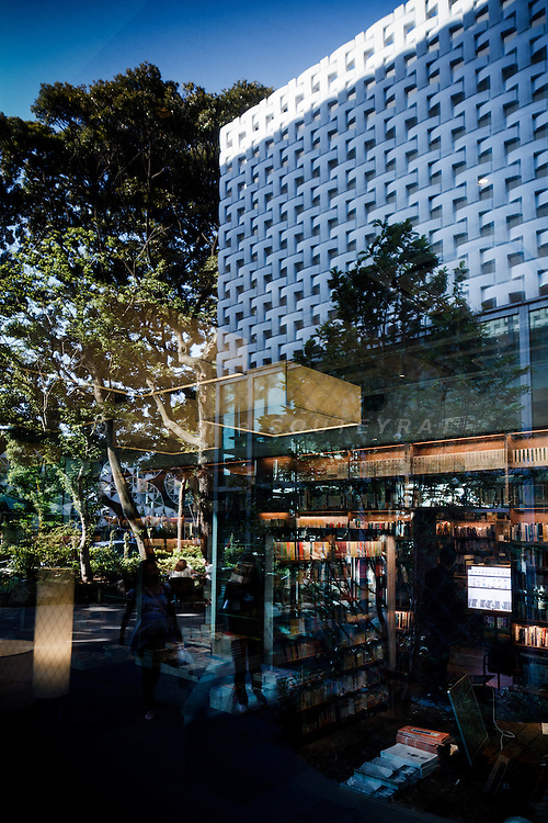 Tokyo, June 26 2012 - At T-SIte Daikanyama, a newly opened book shop  designed by the Tokyo based architects Klein and Dytham , one can read, have a drink outside under the trees and buy one of the thousends book of the shop.