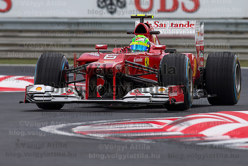Ferrari Formula One driver Felipe Massa of Brazil participates the free practice session of the Hungarian F1 Grand Prix in Mogyorod (about 20km north-east from Budapest), Hungary. Friday, 27. July 2012. ATTILA VOLGYI